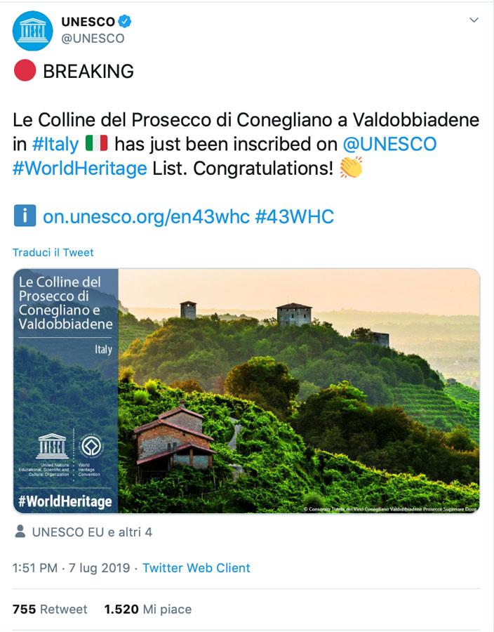 Tweet Unesco Colline del Prosecco